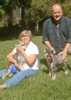 Photo of Rescue Dog Gretchen and friend Missy with adopters